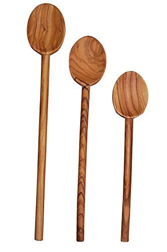 Scanwood Olive Wood Spoon 3 Cooking Spoon Set 10 12 14