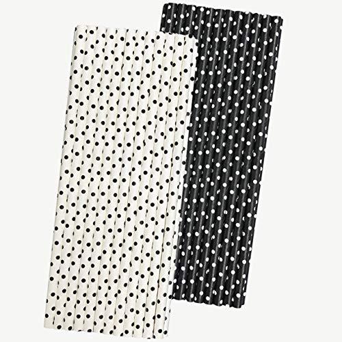 Black and White Paper Straws - Polka Dot - 775 Inches - 50 Pack