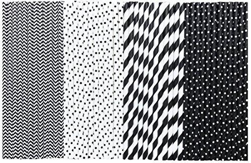 Paper Straws - Black and White - Stripe Chevron Polka Dot - 775 Inches - Bulk 500 Pack - Outside the Box Papers Brand