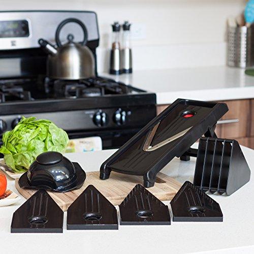 Ambigoal Counter Top Mandoline Julienne V-slicer System - Premium Food Slicer With Stainless Steel Blades For