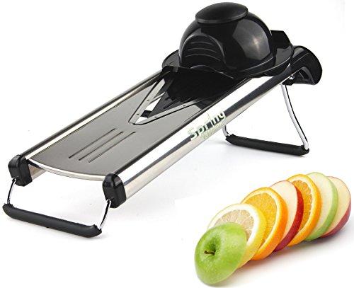Spring Kitchen - Premium V-blade Stainless Steel Mandoline Food Slicer Cutter.5 Different Inserts.cleaning Brush