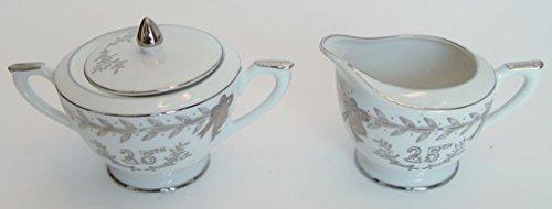 Lefton 25th Anniversary Silver Sugar Bowl and Creamer 280N