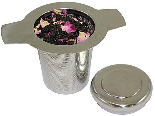 Brew-In-Mug Fine Mesh Tea Infuser Stainless Steel Long Handled Tea Strainer with Lid 1 Set