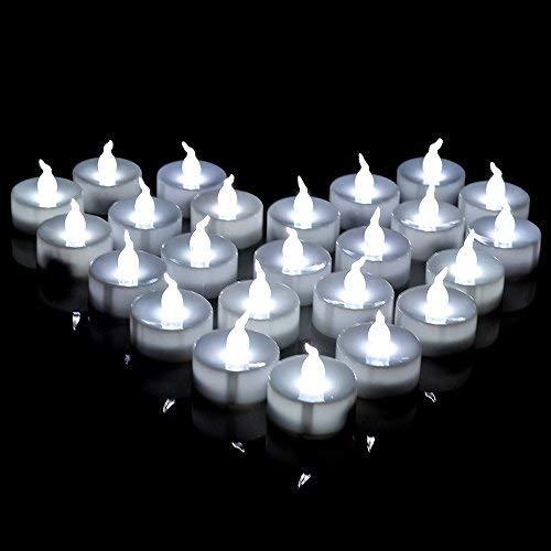 AGPtek 100 PCS Battery Operated LED Flameless Tea Lights - White