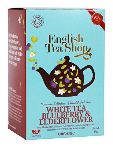 English Tea Shop White Tea Blueberry and Elderflower Tea Bags 30 Gram Pack of 6