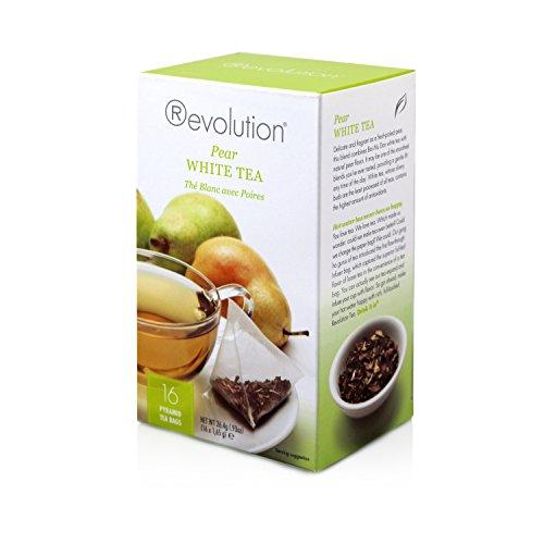Revolution Tea - Pear White Tea  Premium Full Leaf Infuser Stringless Teabags - Antioxidant Boost 16 Bags