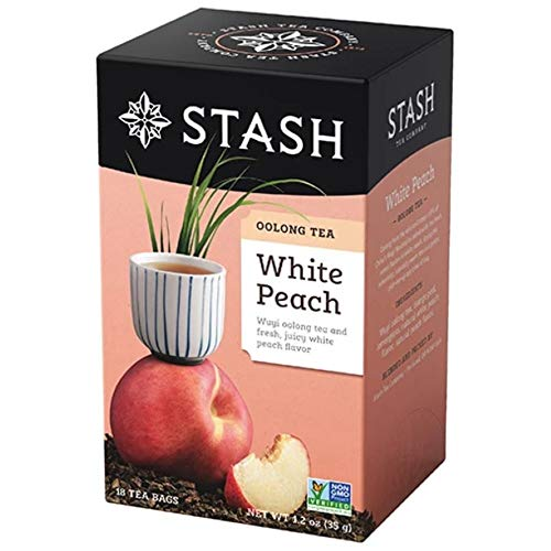 Stash Tea Oolong White Peach Tea 18 Count Tea Bags Individual Oolong Black Tea Bags Use in Teapots Mugs or Cups Brew Hot Tea or Iced Tea