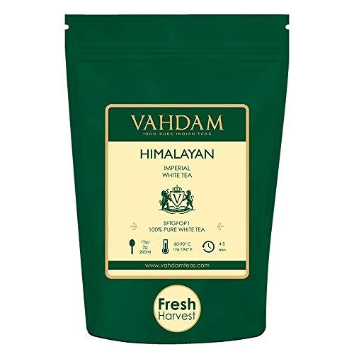 VAHDAM Imperial White Tea Leaves from Himalayas 25 Cups - Worlds Healthiest Tea Type - POWERFUL ANTI-OXIDANTS High Elevation Grown White Tea Loose Leaf - Detox Tea Slimming Tea 176oz