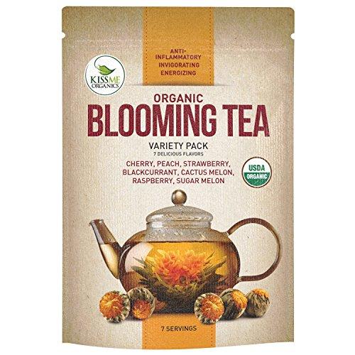 Blooming Tea - 7 Organic All Natural Flavors of Flowering Tea - 100 Organic Calendula Flowers and Green Tea Leaves in Hand Sewn Blooming Tea Balls from Kiss Me Organics - 7 Blooms - 1 of Each Flavor