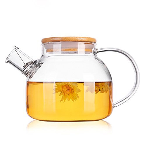 TAMUME 1000ML Glass Teapot with Bamboo Lid and Stainless Steel Filter Coil Glass Water Jug Ideal for Fruit Tea Container and Blooming Teapot 1000ml Bamboo