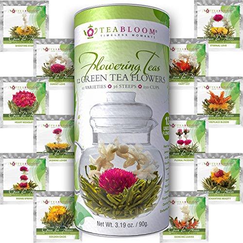 Teabloom Natural Flowering Tea - 12 Unique Varieties of Blooming Tea Balls - Hand-Tied Green Tea Edible Flowers - 12-Pack Gift Canister - 36 Steeps Makes 250 Cups