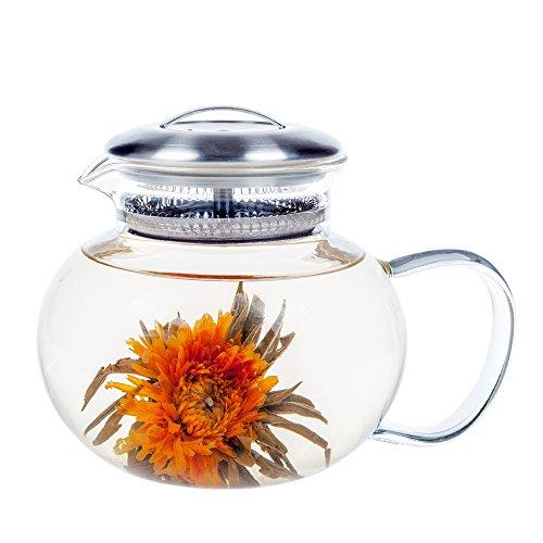 Glass Teapot Elitea 40oz Clear Blooming Tea Pot Large Stovetop for Flowering Tea and Loose Leaf Tea