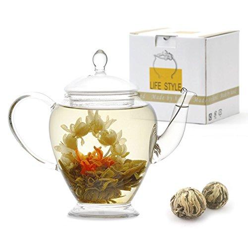 Teavivre Princess Flowering Teapot Gift Set - 15 oz Borosilicate Glass Teapot 2 Handmade Blooming Flower Tea Balls