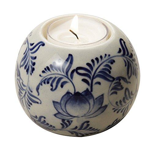 Ten Thousand Villages Pretty Ceramic Holder Flowering Tea Light Holder