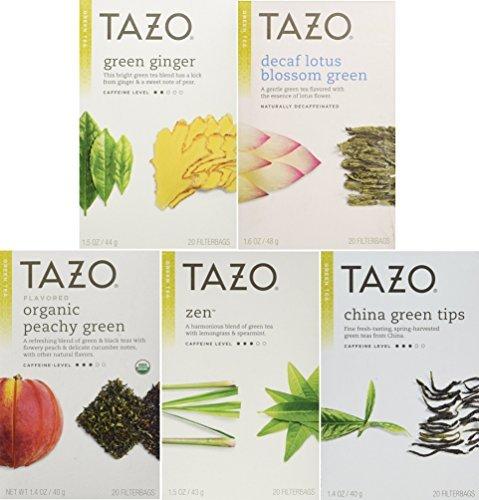 Tazo Green Tea Energizing 5 Flavor Variety Pack Sampler Pack of 5 100 Bags Total