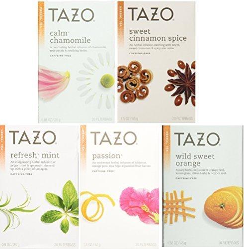 Tazo Herbal Tea 5 Flavor Variety Pack Sampler Pack of 5 100 Bags Total