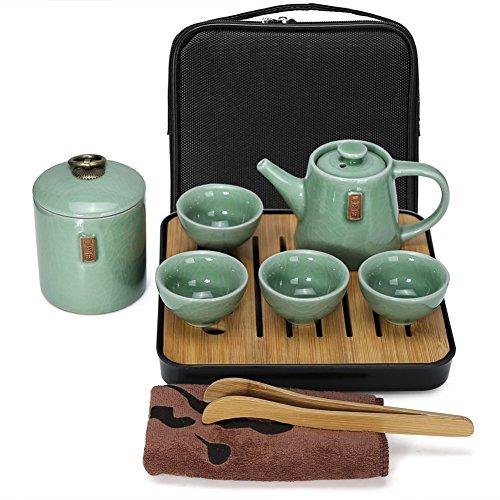 Fuloon Chinese Kungfu Tea Set Portable Travel Ceramic Porcelain Tea Ware Teapot Teacups Tea Tray D