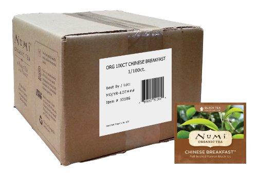 Numi Organic Tea Chinese Breakfast Full Leaf Black Tea 100 Count Bulk non-GMO Tea Bags