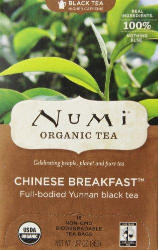 Numi Organic Tea Chinese Breakfast Full Leaf Black Tea 18 Count non-GMO Tea Bags