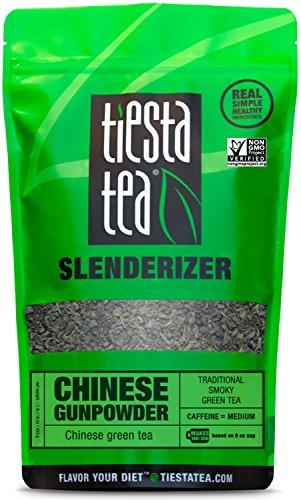 Traditional Smoky Green Tea  CHINESE GUNPOWDER 1 Lb Bag by TIESTA TEA  Medium Caffeine  Loose Leaf Green Tea Slenderizer Blend  Non-GMO