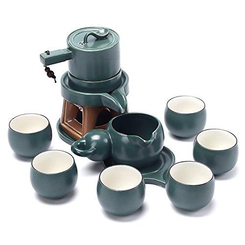 Ufine Chinese Tea Service Ceramic Hot Tea Set Kungfu Automatic Handmade With Imitation Stone Design Gongfu Porcelain Tea Set of 10 Gift Box Zen Japanese Style