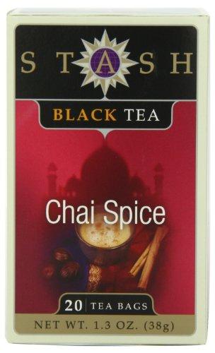 Stash Tea Chai Spice Black Tea 20 Count Tea Bags in Foil Pack of 6