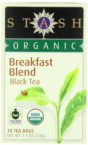 Stash Tea Organic Breakfast Blend Black Tea 18 Count Tea Bags in Foil Pack of 6