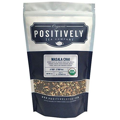 Positively Tea Company Organic Masala Chai Tea Black Tea Loose Leaf USDA Organic 1 Pound Bag