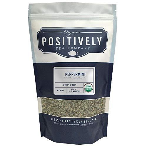 Positively Tea Company Organic Peppermint Leaf Herbal Tea Loose Leaf USDA Organic 1 Pound Bag