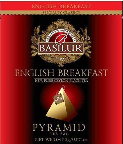 Basilur English Breakfast Tea Pure Ceylon Black Tea Biodegradable Luxury Tea Sachets for Hotels Restaurants Cafes and Tea lovers Ultra-Premium Tea Sachets in Box 50 Piece