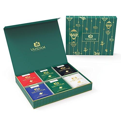 VAHDAM Single Serve Tea Gift Set 6 TEAS Long Leaf Pyramid Tea Bags 24 SERVINGS - Black Tea Green Tea Oolong Tea Chai Tea Herbal Tea - Finest Tea Gift Box