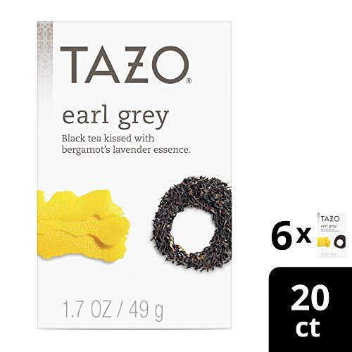 Tazo Black Tea Tea Bags For a Delicious Beverage Earl Grey High Caffeine Level 20 Tea Bags 6 ct