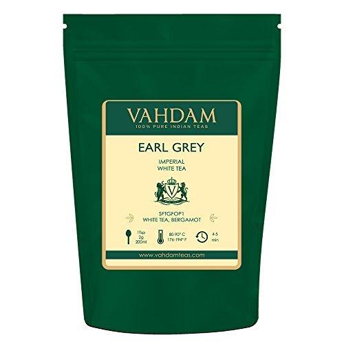 VAHDAM Earl Grey Imperial White Tea Loose Leaf 25 Cups  HEALTHIEST TEA 100 NATURAL White Tea Leaves  POWERFUL ANTI-OXIDANTS  Loose Leaf Earl Grey Tea  Brew as Hot Tea or Iced Tea  176oz