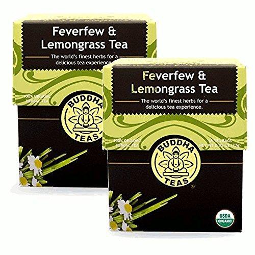 Feverfew Lemongrass Tea - Organic Herbs - 2 Pack 36 Tea Bags