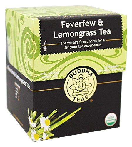 Organic Feverfew Lemongrass Tea - Kosher Caffeine-Free GMO-Free - 18 Bleach-Free Tea Bags
