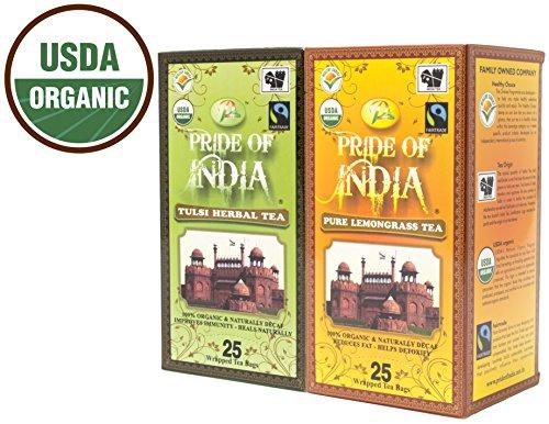 Pride Of India - Organic Herbal Decaf Tea Combo Pack - Tulsi Holy Basil Lemongrass Tea