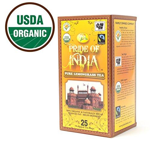 Pride Of India Organic Lemongrass Tea Decaf 25 Tea Bags
