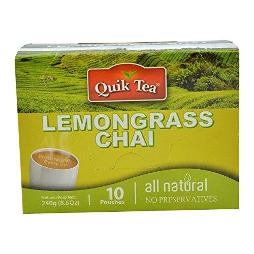 Quik Tea Lemongrass Tea 10 Pouches Made from Assam Teas All Natural No Preservatives 240 g  85 oz