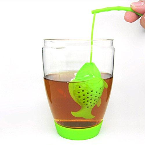 BESTOMZ Tea Filter Fish Tea Bag Infuser Herbal Spice Tea Strainer Diffuser Silicone Random Color