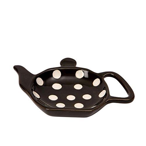 Dexam Polka Spot Dot Ceramic Retro Teabag Holder Caddy in Black