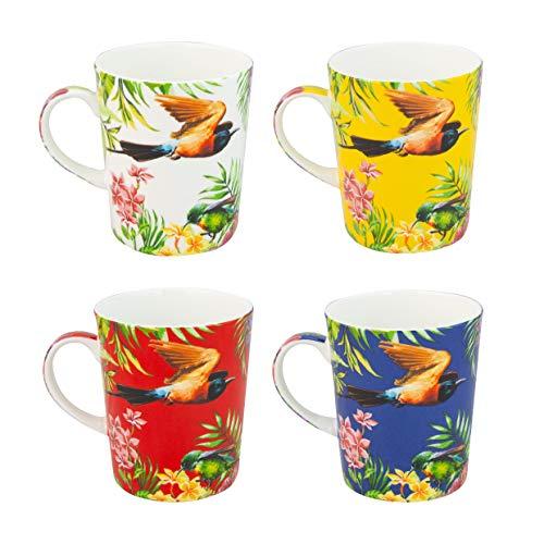 Grace Teaware Bone China Coffee Tea Mugs 12-Ounce Assorted Set of 4 Hummingbirds