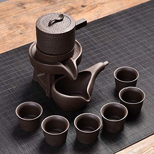 HEGGW Semi-automatic Ceramic Kung Fu Teaware SetImitation Wood Grain Black Purple Sand Color  Black Purple Sand Stone Mill