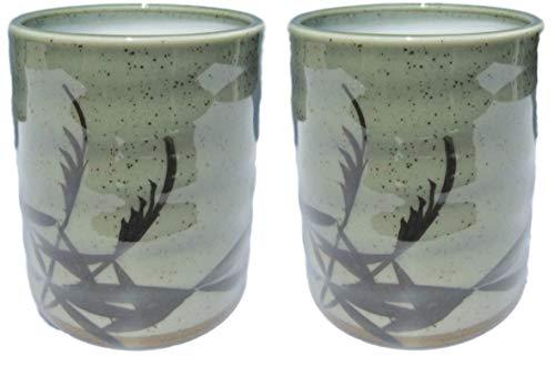 Japanese Traditional Yunomi Tea cups 108 fl oz Set of 2 Authentic Mino Ware Reed Motif Design Mashiko for Hot Green Tea Matcha tea Bancha from Japan