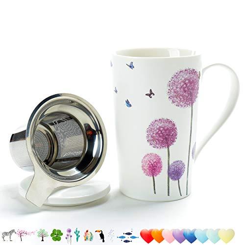 TEANAGOO M58-5 Tea Cup with Filter and Lid 18 OZ Dandelion Dom Dad Women Travel Teaware with Infuser Tea Cup Steeper Maker Brewing Strainer for Loose Leaf TeaDiffuser mug set for Lover Gift