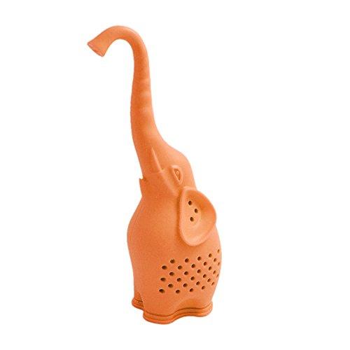1pc Silicone Tea Infuser Creative Elephant Tea Strainer Orange