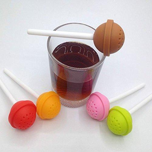 2PCS Cute Lollipop Shape Tea Infuser Creative Silicone Tea Strainer Loose-Leaf Spice Flower Herbal Tea Filter