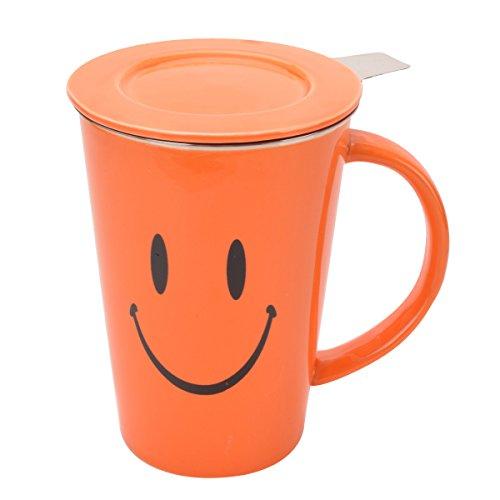 Porcelain Tea Mug with Infuser and Lid 15 OZOrange