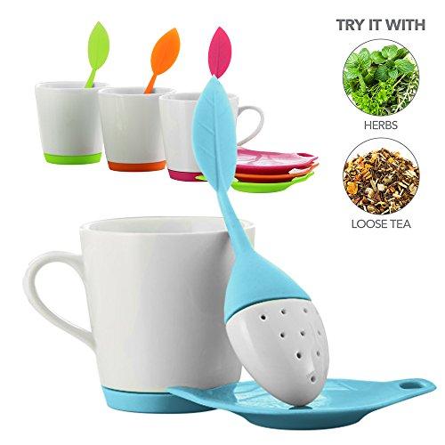 Teabloom - Clearance Sale - LEAFI Ceramic Tea Mug with Leaf Shaped Tea Infuser and Tea Bag Tidy Set - 9oz Mug – Silicone Ceramic Loose Leaf Tea Infuser Tea Bag Drip Tray Set in Shape of Leaf