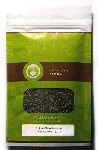 Mahamosa Jasmine Green Tea and Tea Infuser Set 8 oz Bi Luo Chun Jasmine Green Tea 1 Stainless Steel Tea Ball Infuser Bundle- 2 itemsTea ingredients Green tea white tea jasmine flowers