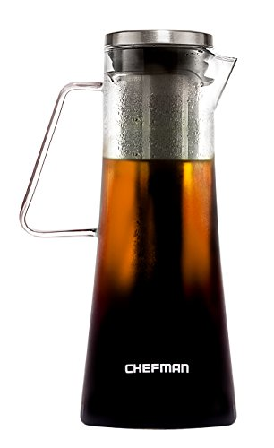 Chefman Cold Brew Coffee Maker Brews Best HotIced Coffee Tea Laser Cut FilterTea Infuser Included Dishwasher Safe Borosilicate Glass Carafe w Stainless Steel Lid 1L34oz